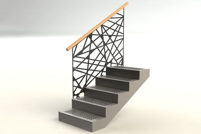 Cut string staircase with screen