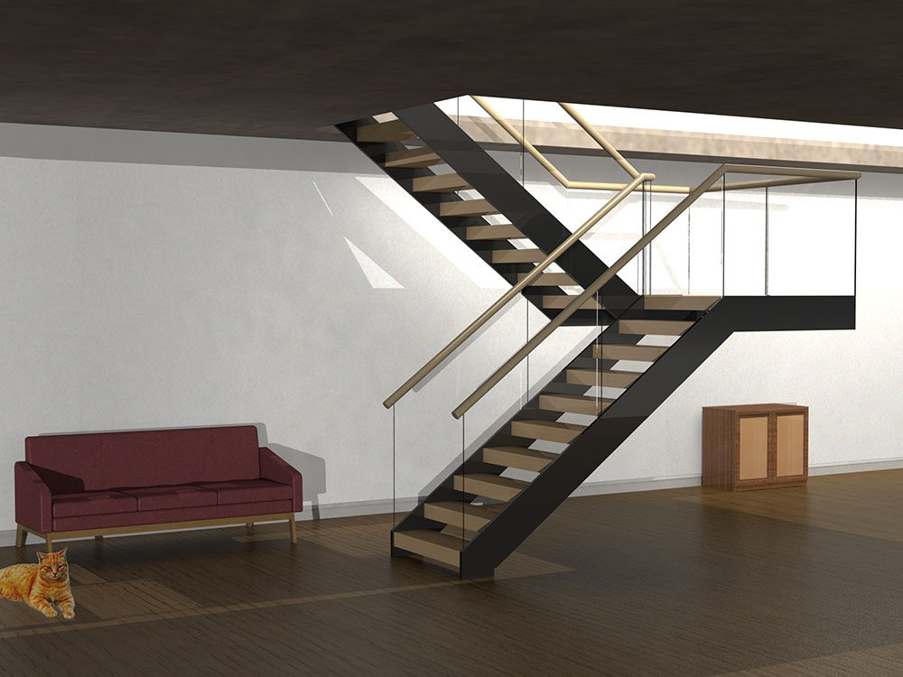 Straight String Fully Cantilevered Staircase