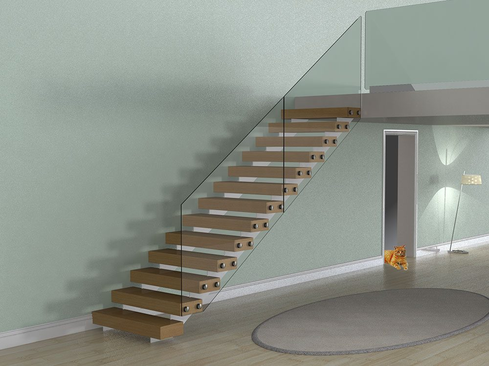 Inboard Straight String Staircase