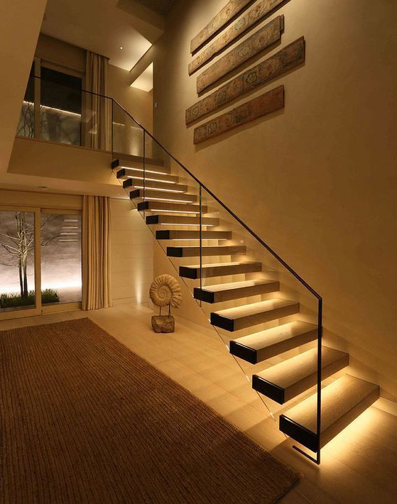 Straight staircase with underlights